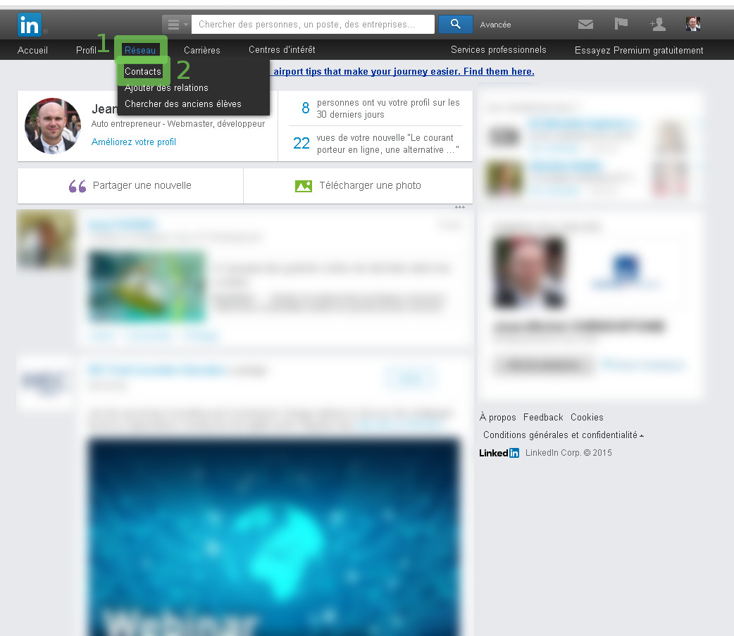 Export des contacts LinkedIn - étape 1