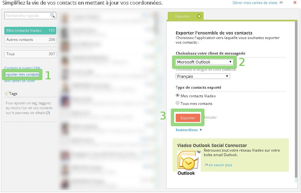 exporter vos contacts viadeo